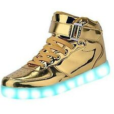 BEIKING Kids High Top Light Up Shoes LED Flashing Sneakers For Boys Girls Gold
