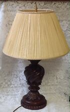 Thomas Blackmore Large Hand Carved Wood Table Lamp, Safety Tested, Shade Not Inc
