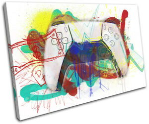 Playstation 5 Graffiti Gamer Gaming SINGLE CANVAS WALL ART Picture Print