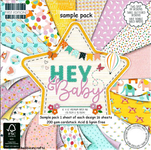 HEY BABY Dovecraft 6 x 6 Sample Paper Pack 1 Of Each Design - 16 Sheets 200 gsm