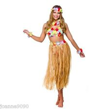 LADIES HAWAIIAN FANCY DRESS 5pc GIRL BRA GRASS SKIRT LEI WRISTBANDS HEADBAND SET