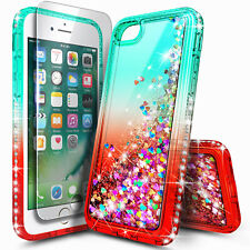 For iPhone SE 2020 (2nd Gen) Case Liquid Glitter Bling Cover + Tempered Glass