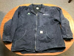 MENS USED CARHARTT BLACK FULL ZIP SHERPA LINED CANVAS WORK JACKET SIZE 2XL