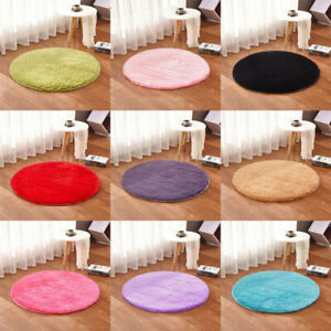 Fluffy Round Rug Artificial Silk Wool Floor Carpet Home Decor For Kids Bedroom