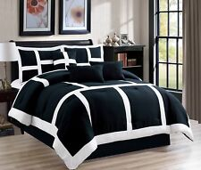7 Piece Soft Patchwork Comforter set Black White Cal King Size New at Linen Plus