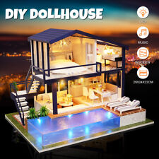 DIY Puppenhaus Holz 2 Etagen mit Möbel Zubehör Spielhaus Puppenvilla Puppenstube