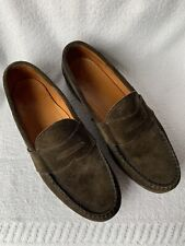 Mens 10 1/2 D COLE HAAN 237767  GREEN SUEDE PREPPY CLASSIC PENNY LOAFERS SHOES