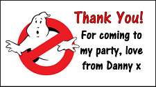 Ghostbusters Stickers Personalised 48 Labels Party Bag Sweet Cones Thank You