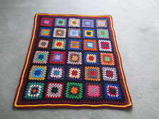Pure Wool Crochet GRANNY SQUARE RUG Throw AFGHAN - Navy & Maroon Borders No.24