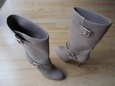 $1250 Jimmy Choo Galen Boots Taupe Distressed Leather Buckle 40.5 US 10.5 10 NEW