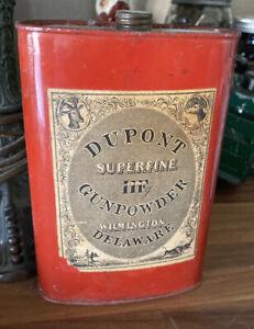 "Vintage Antique DUPONT SUPERFINE GUNPOWDER ADVERTISING 6"" TIN, Delaware, USA"