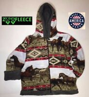 ZooFleece Aztec Red Horse Kids Girls Animal Pet Jacket Hoodie Coat Reversible