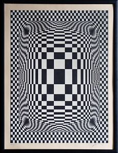 LARGE VICTOR VASARELY SIGNED NUMBERED OP ART Serigraph Print Litography Abstract