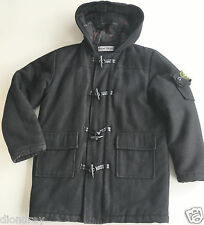 Rrp £300 Boys Black Stone Island Duffle Coat 9-10 Junior Jacket Wool Hood C.P.