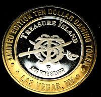 .999 $10 Silver Strike •Treasure Island Casino• Vegas•Crossed Swords, Small font