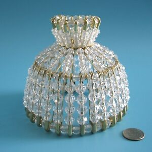 BEADED SHADE FOR WINDOW TABLE NIGHT LIGHT ELECTRIC CANDLE CRYSTAL CLEAR BEAD