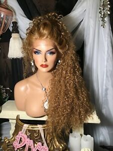 """HOT! REDDISH BLONDE, BIG HAIR, 32"""" of SPIRAL CURLS, LACE FRONT WIG!"""