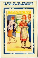 FUR COAT SHOP - Swanking With Her Vermin Coat - Reg Maurice - 1945 used postcard