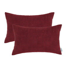 Pack of 2 Cushion Covers Pillows Cases Corduroy Corn Striped Home Decor 30x50