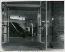 1956 Press Photo View of the escalator at a terminal at Cleveland Airport.