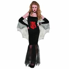 Womens Black Widow Vampire Halloween Costume Fancy Dress Adult Size 14-16