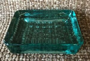 NEW BEAUTIFUL HEAVY RECYCLED GREEN GLASS SOAP DISH VINTAGE STYLE +++