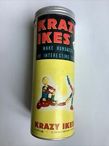 VINTAGE 1957 WHITMAN KRAZY IKES 42 Pieces + Original Canister + Instructions
