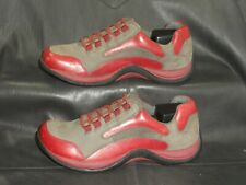 Clarks Springers women's gray nubuck w/red leather trim oxford shoes size 7 1/2M