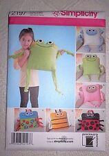 "Simplicity 2197 Fleece Pillows 14"" Frog-Bee-Ladybug & More *New Uncut"