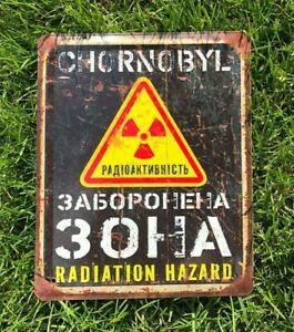Chernobyl zone, Danger sign, Vintage Look Radioactive, Warning Sign