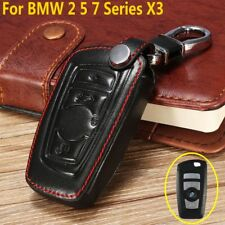 Black PU Leather Remote Key Chain Fob Cover Case Holder For BMW 2 5 7 Series X3