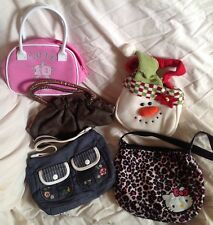 Girls / Teens / Ladies assorted 5 x handbags denim hello kitty snowman bronze