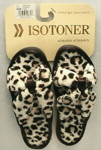 ISOTONER BRAND NEW PAIR OF CLASSIC SLIPPERS LEOPARD PRINT SIZE 7.5-8 NEVER WORN