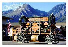 Leavenworth Washington Postcard Bavarian Village Beer Wagon Willkommen New Flag
