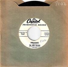 1958 THE KING SISTERS White Label Promo 45 Unbelievable / Seventy-Six Tronbones