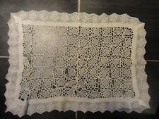 "Antique Crochet table cover. 26""X 19"""