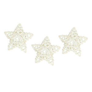 Set of 3 Small 9cm White Rattan Stars Suitable For Christmas Crafting
