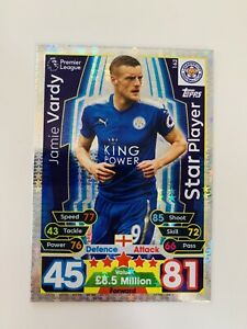 Match Attax 2017/8 Star Player card Jamie Vardy of Leicester City #162