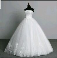 UK Ivory Lace Sequins Strapless A Line Cheap Wedding Dress Size 8-12 Real Image