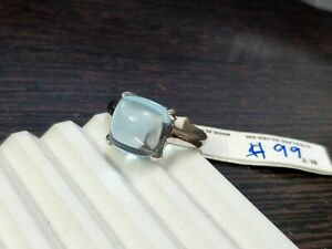 Blue Topaz Sugar Stack Ring 925 Sterling Silver Natural Blue Topaz Square Cab