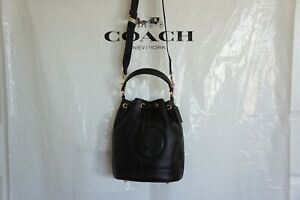 NWT Coach C4100 Dempsey Drawstring Bucket Bag In Pebble Leather Black $378