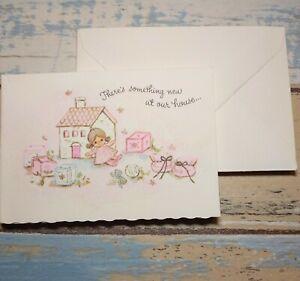 6 Vtg Birth announcements & envelopes unused 60's baby girl pink