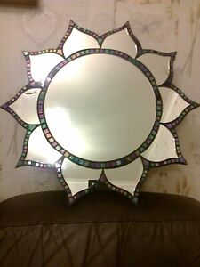"""VINTAGE MOZAIC TILES MIRROR 10 POINTED FLOWER PETAL BORDER 21.5"""" POINT TO POINT"""