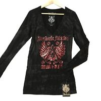 Archaic by Affliction Women's Sz Small LS Achiles T-Shirt Wings Biker UFC Sinful
