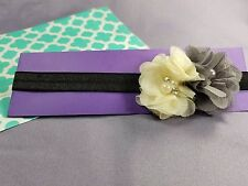 Gray/Blc Floral Baby Headband by Kim's Design | Handmade in US | 14 Inches 3-6M