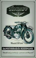 Blechschild Zündapp Modell DB 200 Nostalgieschild Motorrad Werbeschild 20x30 cm
