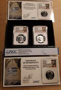 2-1964-D KENNEDY HALF DOLLARS 50C FROM DISCOVERY MINT BAG  NGC CHOICE BU FDOI