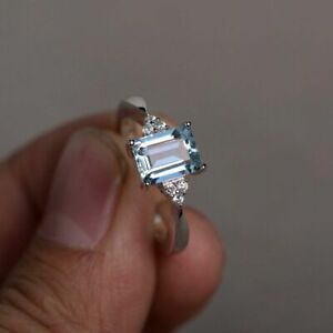 0.9ct Emerald Cut Blue Aquamarine Engagement Ring 14k White Gold Over Solitaire