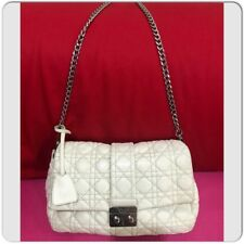 1a51eccd3c13 AUTHENTIC CHRISTIAN DIOR QUILTED CALFSKIN WHITE LEATHER CANNAGE CHAIN FLAP  BAG