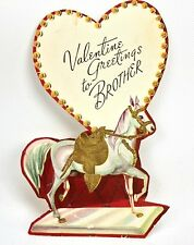 Vtg Valentines Card Show Horse Equestrian Ephemera Prancing Embossed Boy 40s 50s
